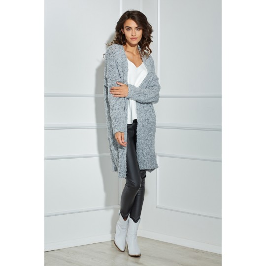 Sweter Kardigan Model OLL83 Light Grey - Oohlala